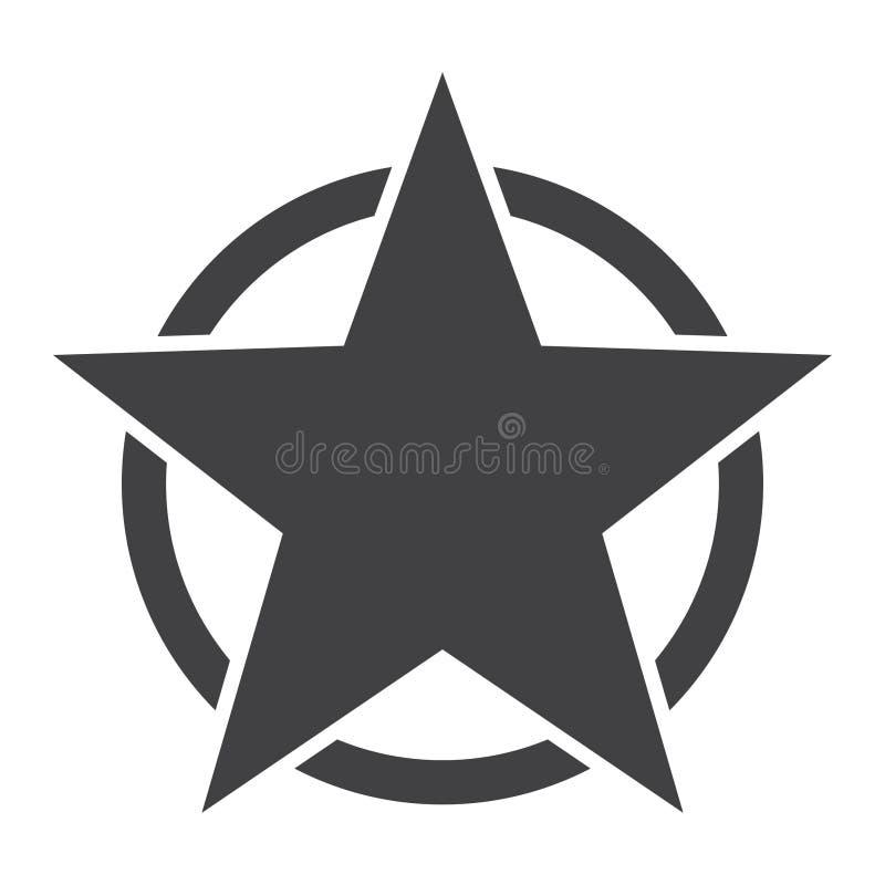 Amerikanische Stern-Ikone Stern in der Kreisikone Flache Vektorillustration im Schwarzen auf weißem Hintergrund Schwarze Schablon stock abbildung