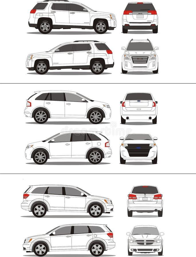 Amerikanische SUV Fahrzeugumreiß lizenzfreie abbildung