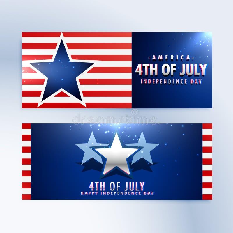 Amerikanische Unabhängigkeitstagfahnen lizenzfreie abbildung