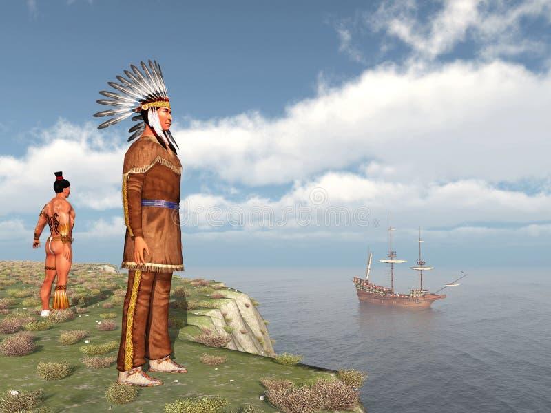 Amerikanische Ureinwohner und das Mayflower lizenzfreie abbildung
