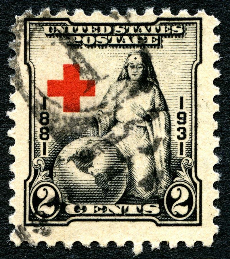 Amerikanische USA-Briefmarke des roten Kreuzes lizenzfreies stockbild