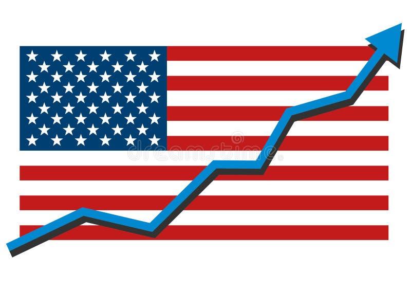 Amerikanische USA-Flagge mit dem blauen Pfeildiagramm, das starke, geht Wirtschaft in der Wiederaufnahme oben zu zeigen und Aktie lizenzfreie abbildung