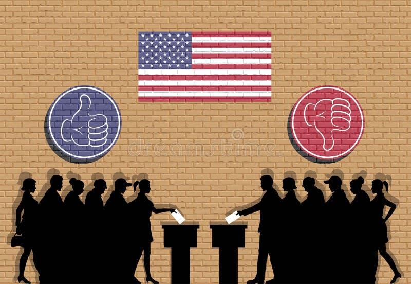 Amerikanische Wähler drängen Schattenbild in der Wahl mit den Daumenikonen stock abbildung