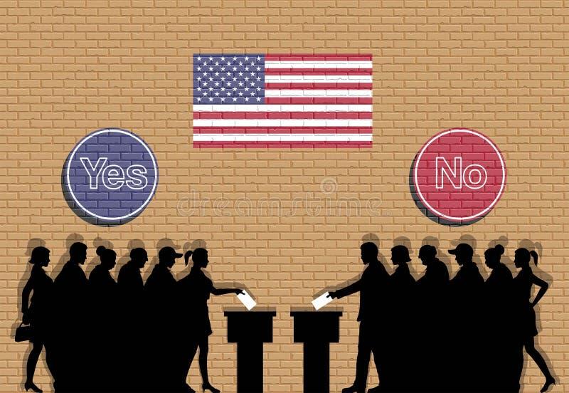 Amerikanische Wähler drängen Schattenbild in USA-Wahl mit ja und nein stock abbildung