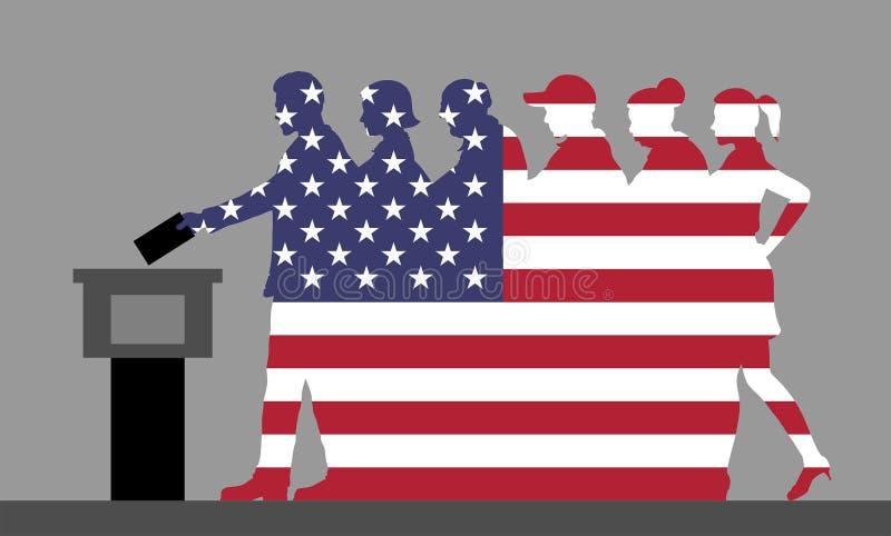 Amerikanische Wähler drängen Schattenbild wie USA-Flagge, indem sie für ele wählen stock abbildung