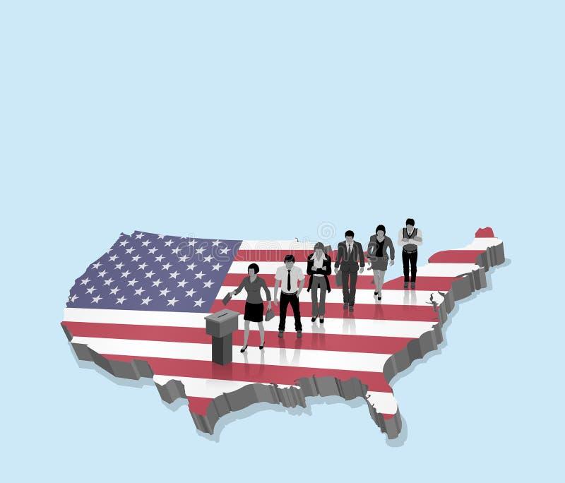 Amerikanische Wahl über einer Karte 3D mit USA-Bürgern und US-Flagge stock abbildung