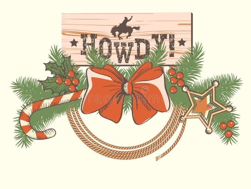 Amerikanische Weihnachtsdekoration für Cowboywesthintergrund oder d stock abbildung