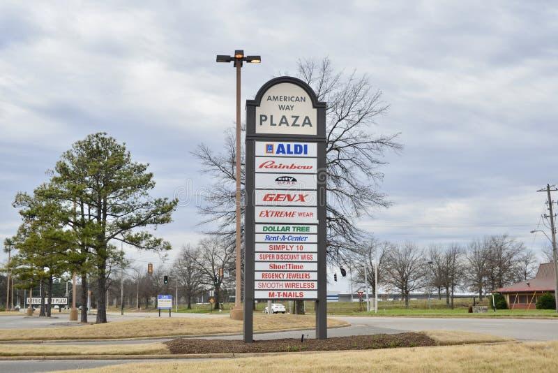 Amerikanische Weisen-Piazza und Einkaufsstraße, Memphis, Tennessee stockbilder