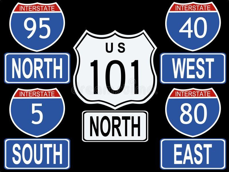 Amerikanische zwischenstaatliche Zeichen stock abbildung