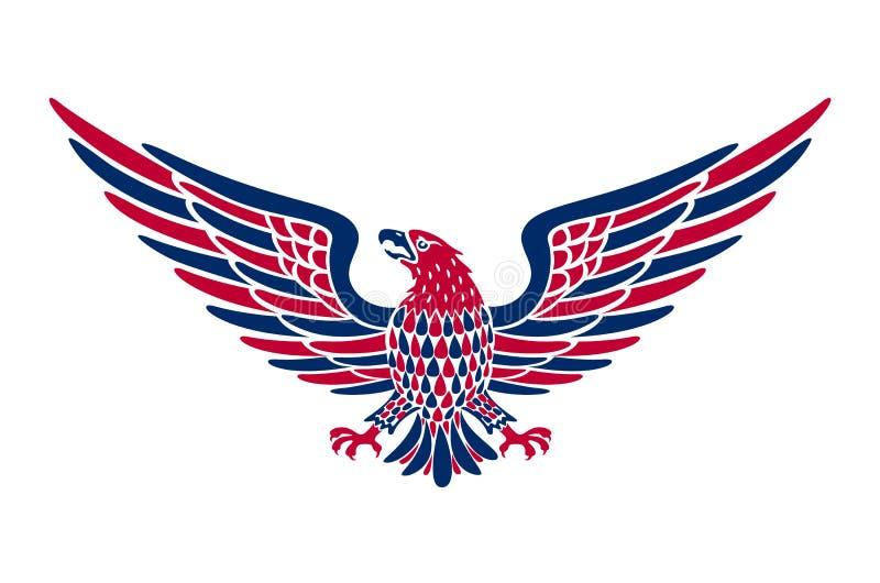Amerikanischer Adlerhintergrund Einfach, Vektorillustration des Adlers mit amerikanischer Flagge für Unabhängigkeitstag zu redigi lizenzfreie abbildung