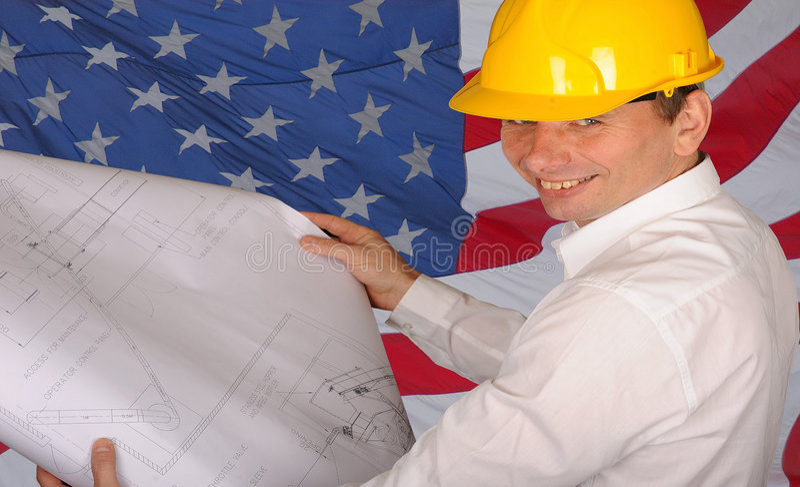 Amerikanischer Bauarbeiter stockbilder