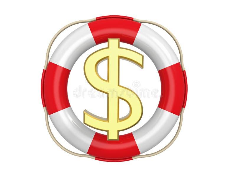 Amerikanischer Dollar mit Rettungsring, Wiedergabe 3d vektor abbildung