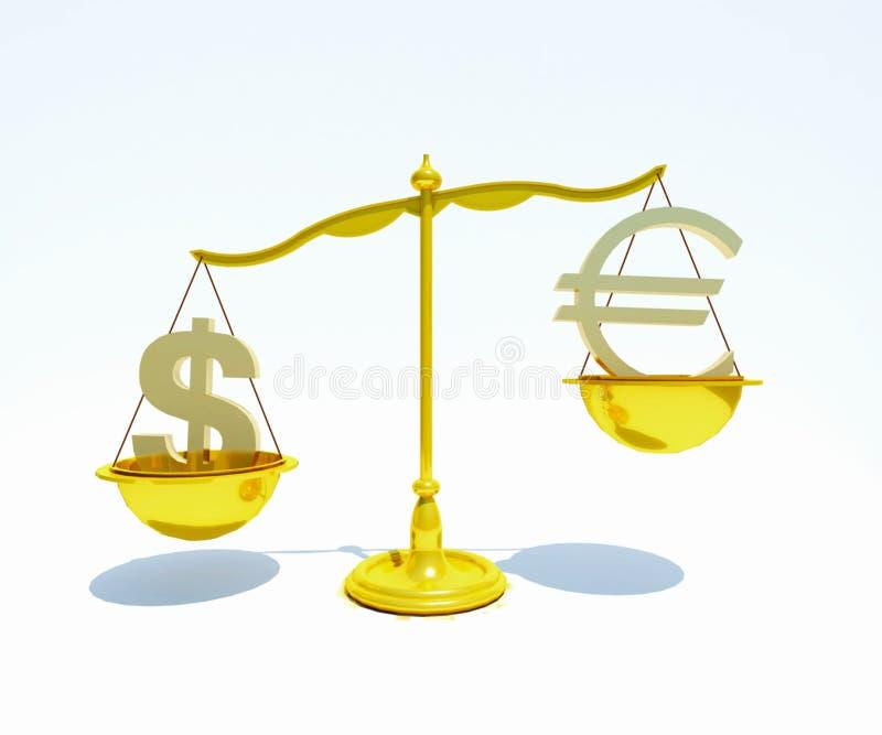 Amerikanischer Dollar und Eurobalancen-Konzept - Archivbild lizenzfreie abbildung