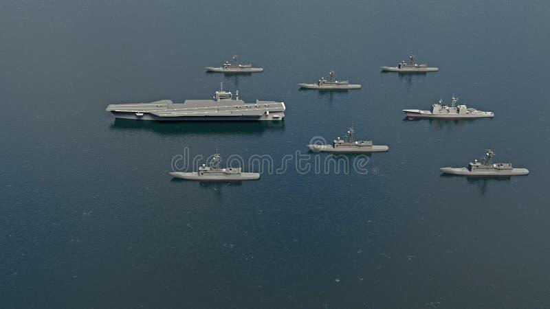 Amerikanischer Flugzeugträger mit Zerstörern und einem Kreuzer im Pazifischen Ozean in Richtung zu Nord-Koreaì lizenzfreie abbildung