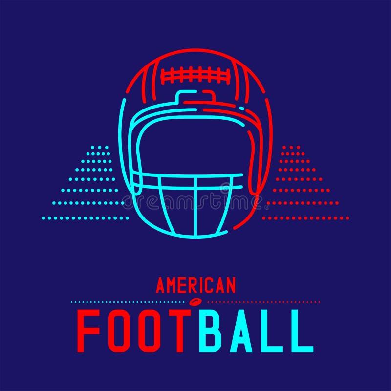 Amerikanischer Football-Helm mit gesetzter Strichlinie des Ball- und Gerichtslogoikonenentwurfs-Anschlags entwerfen Illustration vektor abbildung