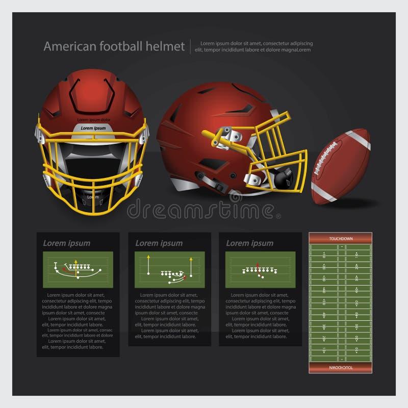 Amerikanischer Football-Helm mit Teamplan stock abbildung