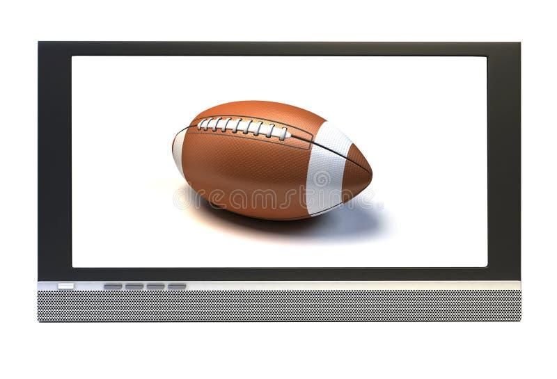 Amerikanischer Fußball in Fernsehapparat stock abbildung