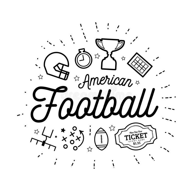 Amerikanischer Fußball Vector Illustration im Stil der dünnen Linien mit flachen Ikonen in Schwarzweiss vektor abbildung