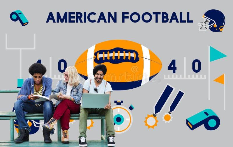 Amerikanischer Fußball-Wettbewerbs-Spiel-Ziel-Spiel-Konzept lizenzfreie abbildung