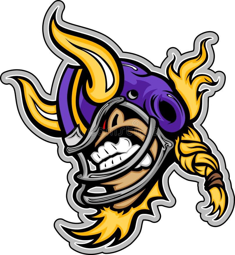 Amerikanischer Fußball-Wikinger-Maskottchen-tragender Sturzhelm vektor abbildung
