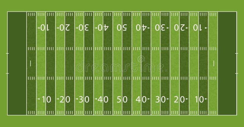 Amerikanischer Fußballplatz mit Linie und Gras-Beschaffenheit Auch im corel abgehobenen Betrag lizenzfreie abbildung