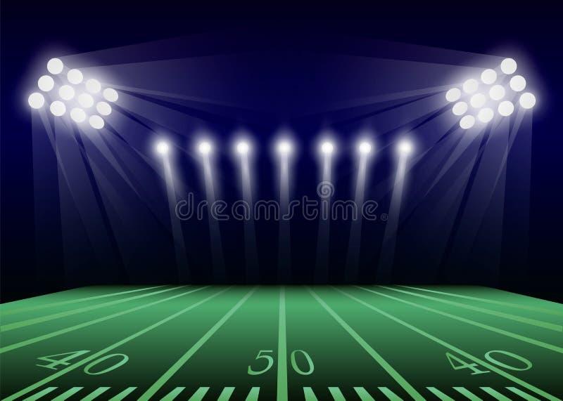 Amerikanischer Fußballplatzkonzepthintergrund, realistische Art lizenzfreie abbildung