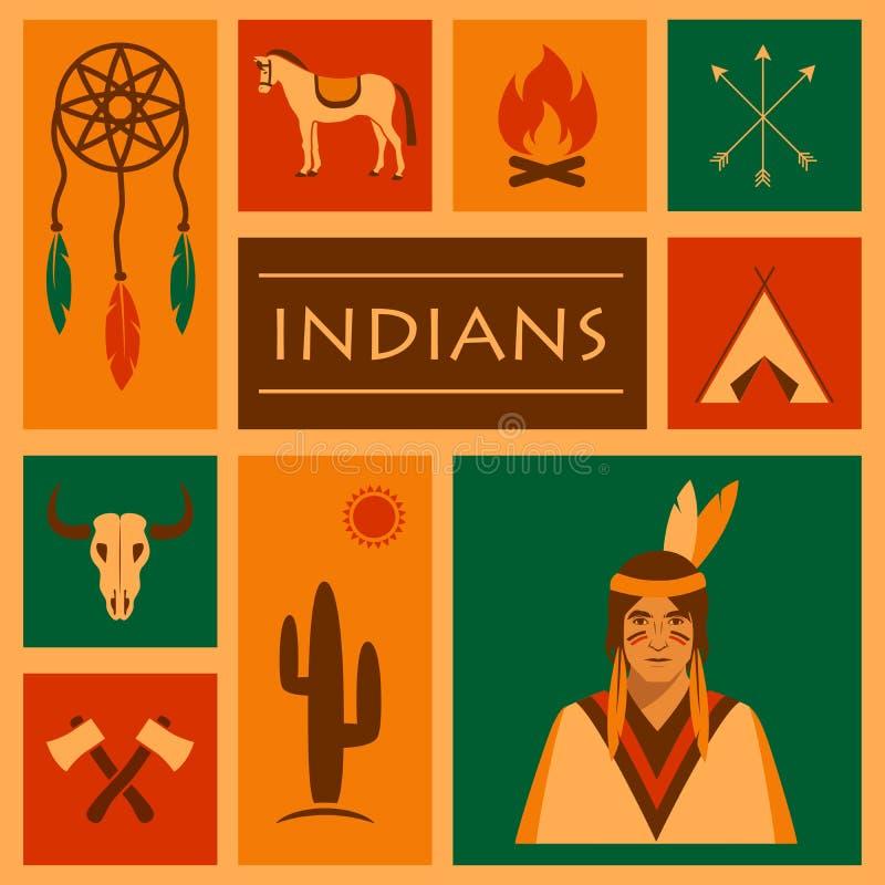 Amerikanischer gebürtiger Inder stock abbildung