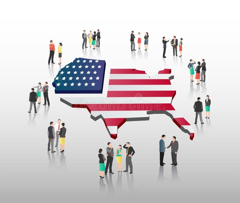 Amerikanischer Geschäftsvektor mit Fachleuten lizenzfreie abbildung