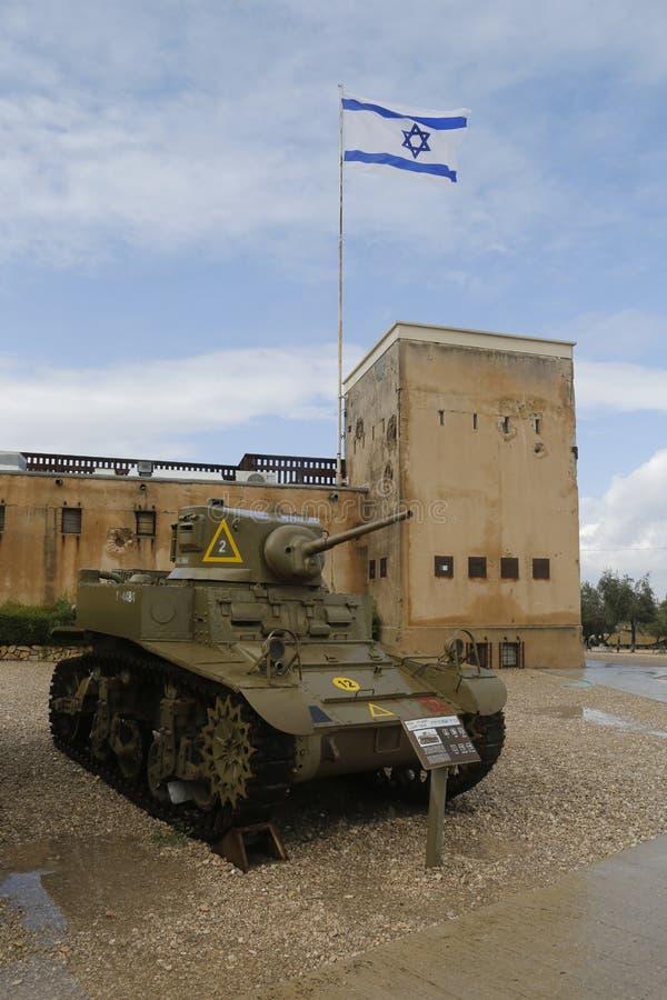 Amerikanischer heller Behälter M3A1 Stuart auf Anzeige an Yad-La--Shiryongepanzertem Korps-Museum bei Latrun stockfotografie