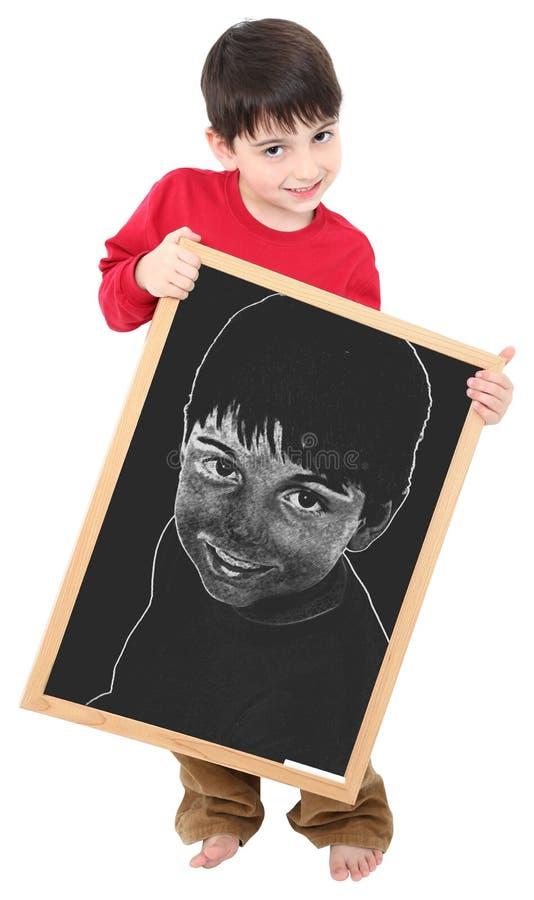 Amerikanischer Junge mit Selbstportrait auf Tafel lizenzfreie stockbilder