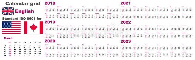 Amerikanischer Kalender Standard-US Englische Sprachmuster für 2018 2019 2020 2021 2022 2023 Wochenanfänge am Sonntag, USA stock abbildung