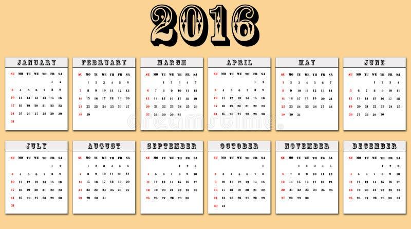Amerikanischer Kalender 2016 Wochenanfänge am Sonntag stock abbildung
