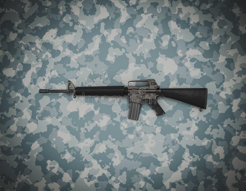 Amerikanischer Kaliber 5 56 mm Gewehr auf Tarnuntergrund stockfoto