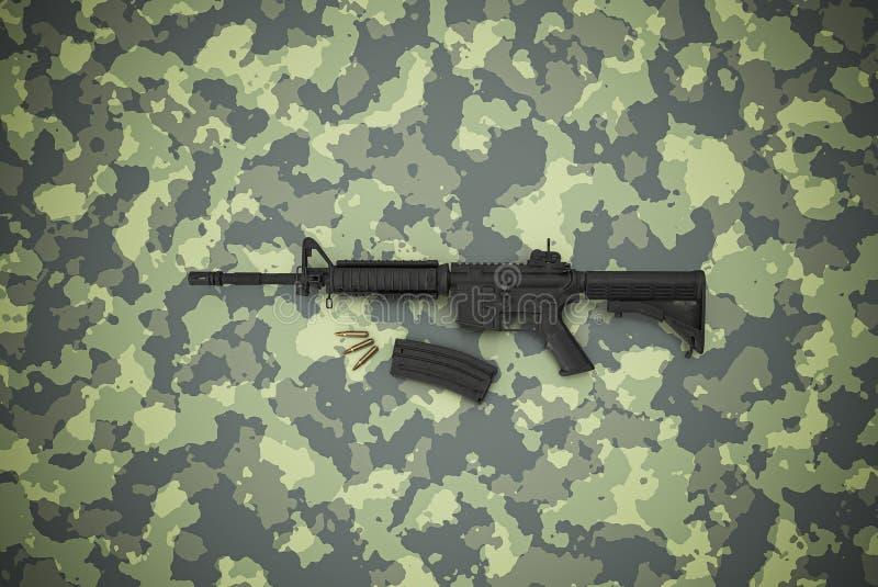 Amerikanischer Kaliber 5 56 mm Gewehr auf Tarnuntergrund lizenzfreie stockfotos