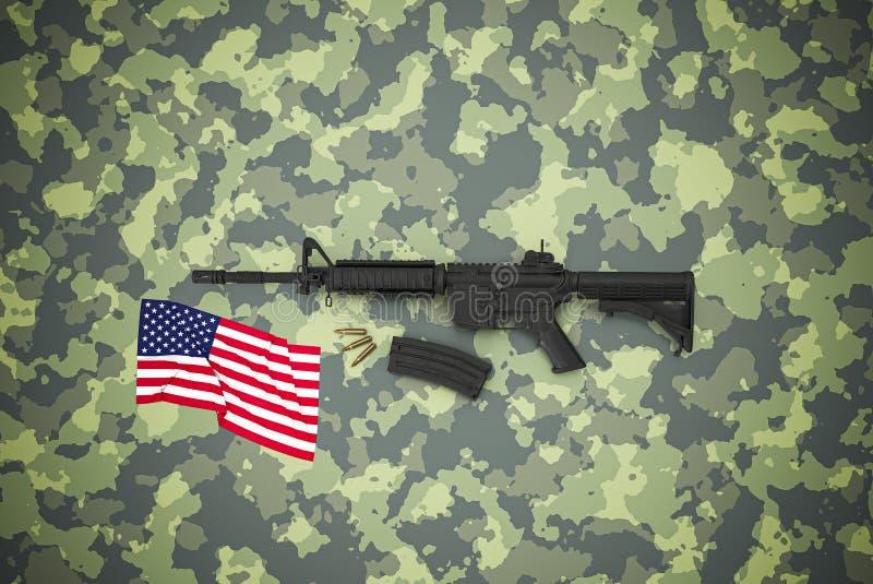 Amerikanischer Kaliber 5 56 mm Gewehr auf Tarnuntergrund lizenzfreie stockbilder