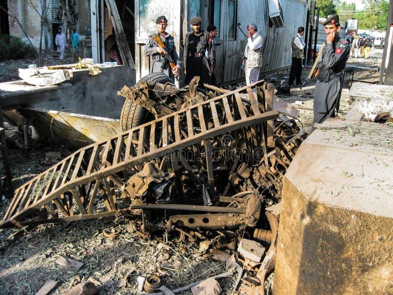 Amerikanischer Konsulat-Angriff in Peschawar, Pakistan stockfoto