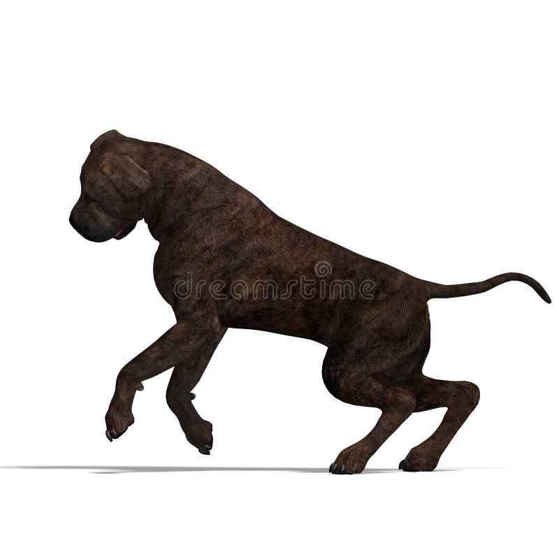 Amerikanischer Mastiff-Hund. Wiedergabe 3D mit Ausschnitt vektor abbildung