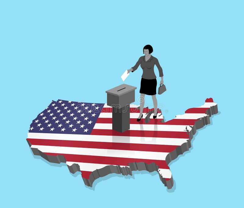 Amerikanischer Staatsbürger, der für USA-Wahl über einer Karte 3D von US wählt lizenzfreie abbildung