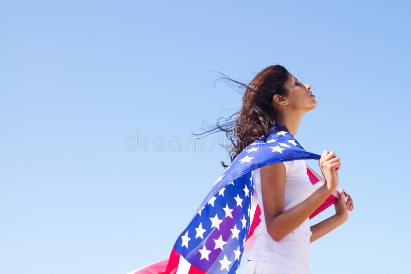 Amerikanischer Traum der jungen Frau lizenzfreies stockbild