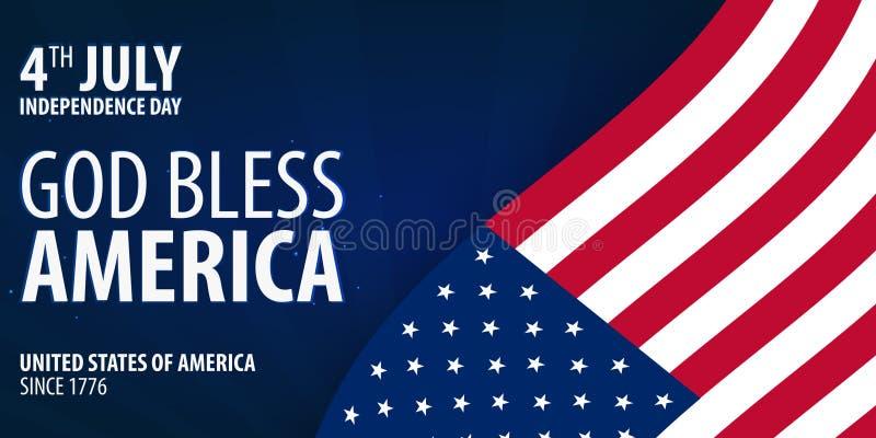Amerikanischer Unabhängigkeitstag Gott segnen Amerika 4 juillet Schablonenhintergrund für Grußkarten, Poster, Broschüren und Bros stock abbildung