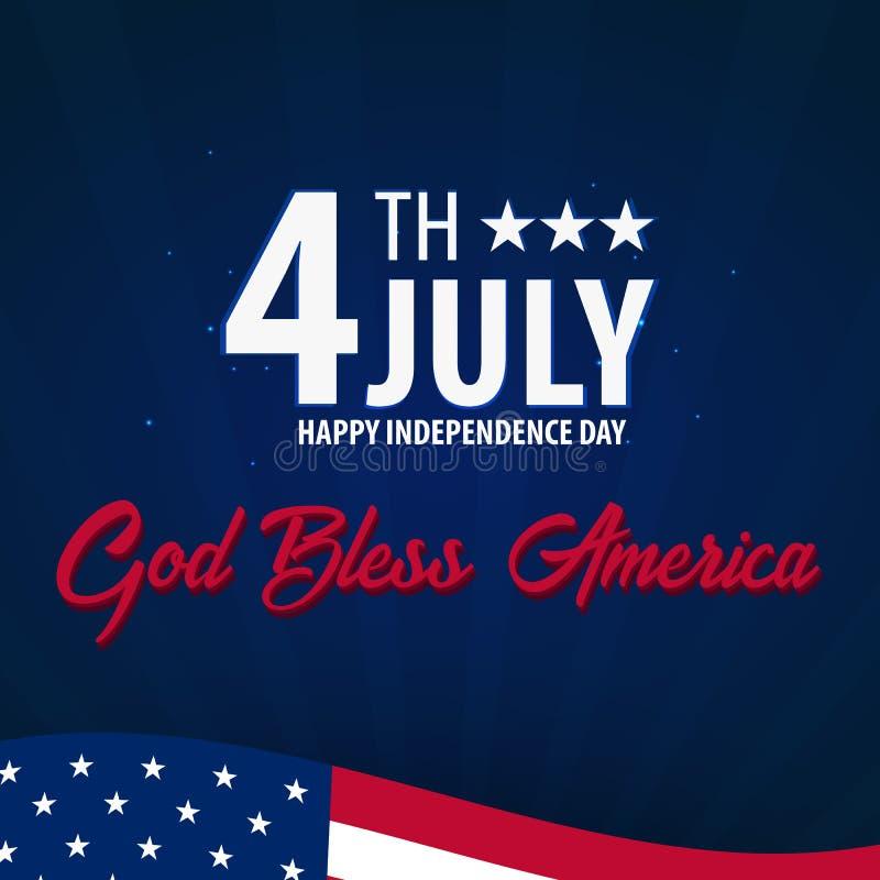 Amerikanischer Unabhängigkeitstag Gott segnen Amerika 4 juillet Schablonenhintergrund für Grußkarten, Poster, Broschüren und Bros vektor abbildung