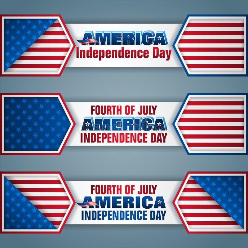 Amerikanischer Unabhängigkeitstag, Netzfahnen lizenzfreie abbildung