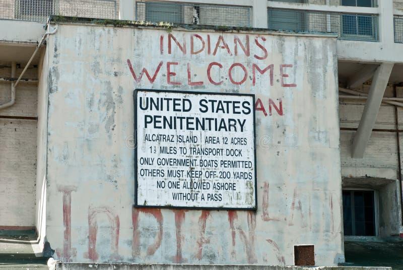 Amerikanischer Ureinwohner Alcatraz Besetzungszeichen lizenzfreie stockfotografie