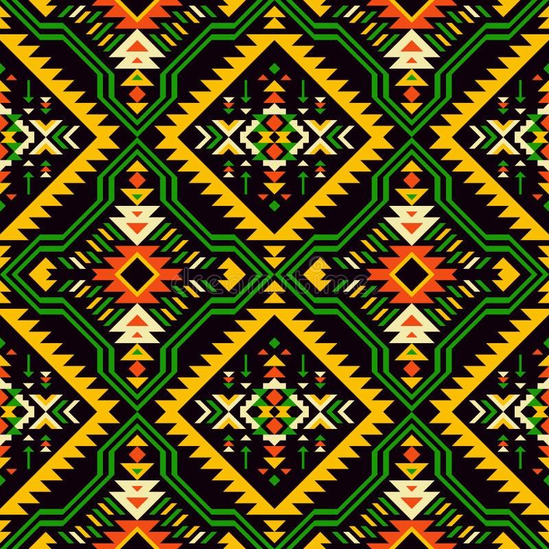 Amerikanischer Ureinwohner, Inder, Azteke, Afrikaner, geometrisches nahtloses patt lizenzfreie abbildung