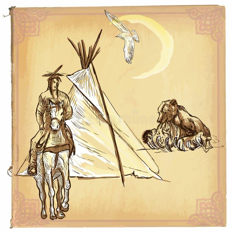Amerikanischer Ureinwohner, Inder - eine Hand gezeichnete Vektorskizze, freihändig vektor abbildung