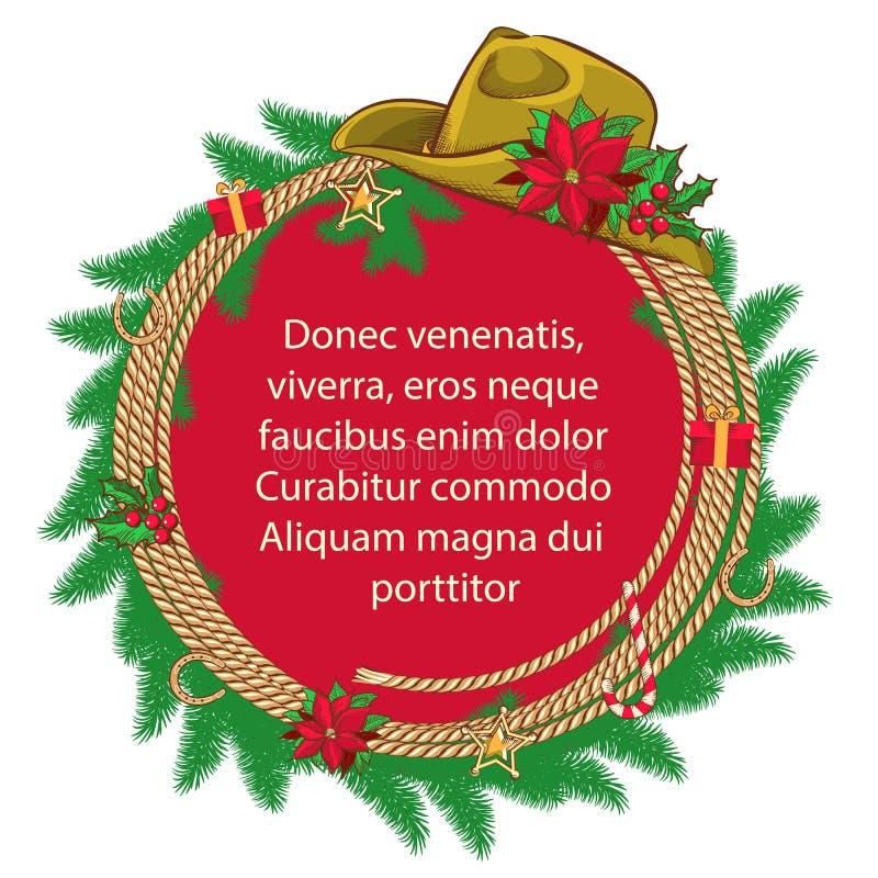 Amerikanischer Weihnachtshintergrund mit Cowboyhut und  stock abbildung