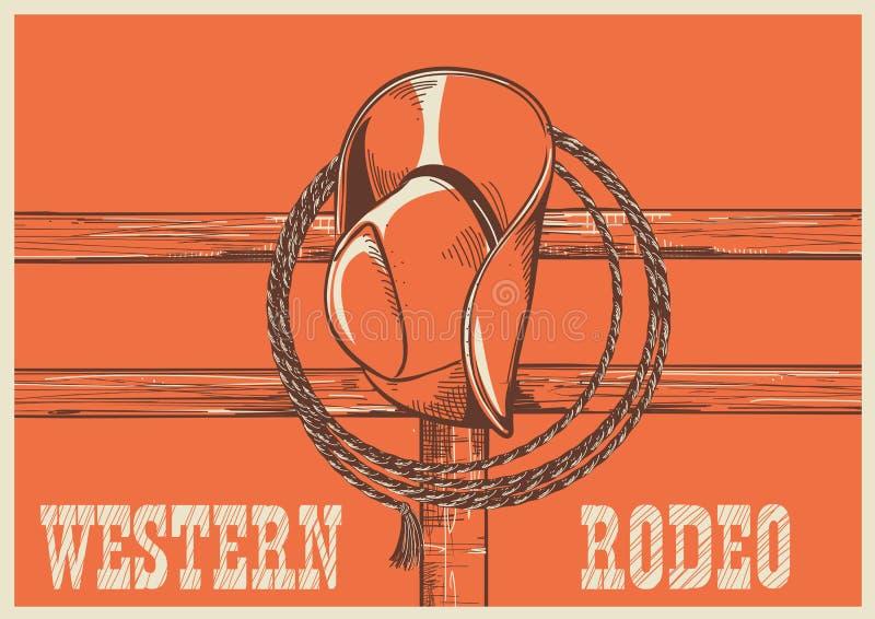 Amerikanischer Westcowboyhut und Lasso auf hölzernem Zaun lizenzfreie abbildung