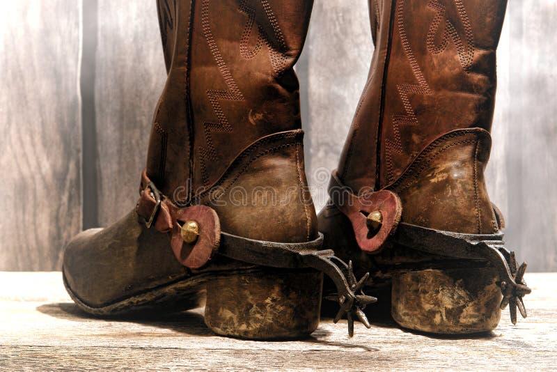 Amerikanischer Westlegenden-Cowboy Boots und Reitsporne lizenzfreies stockbild