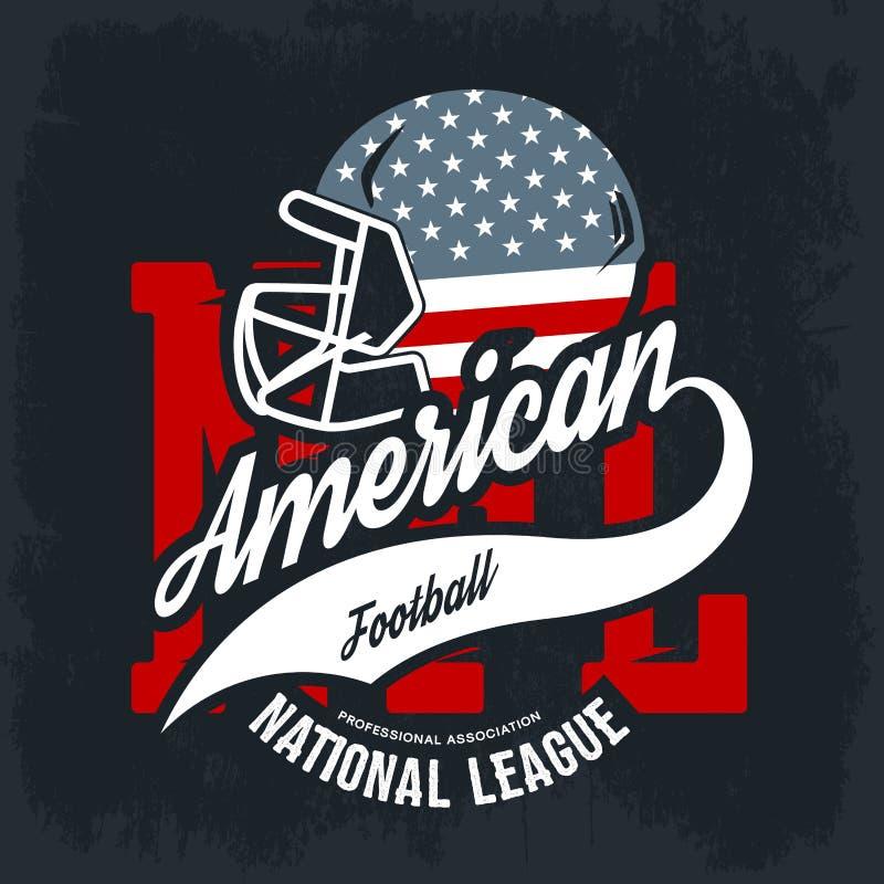 Amerikanisches Football-Helm-T-Stück Druck-Vektordesign auf schwarzem Hintergrund vektor abbildung