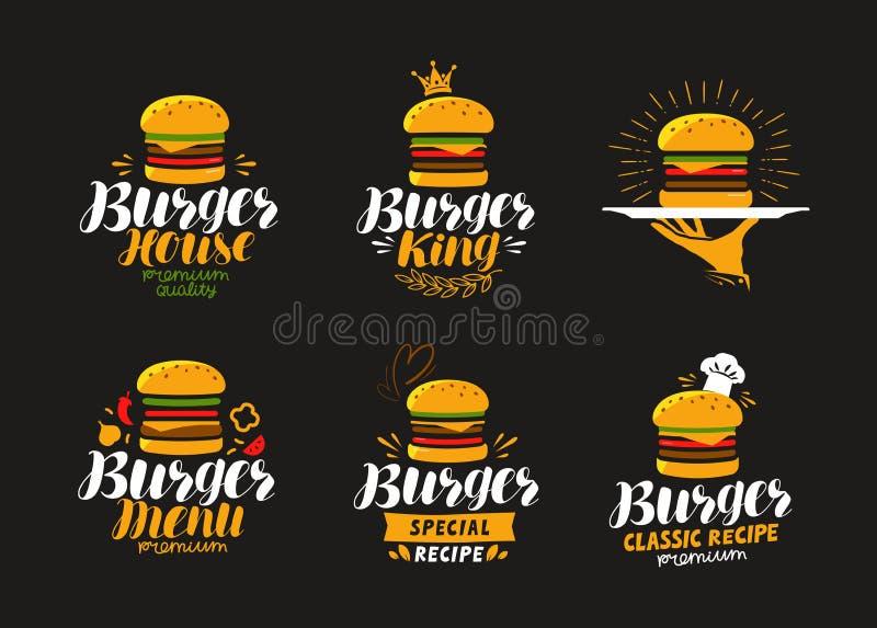 Amerikanisches Lebensmittellogo Burger, Cheeseburger, Hamburgerikone oder Aufkleber Auch im corel abgehobenen Betrag vektor abbildung